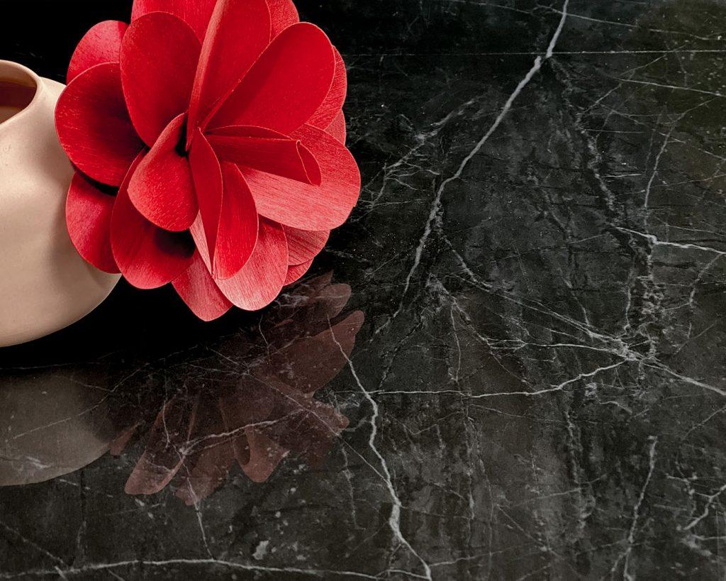 Copertina Marmi Pregiati Nero Marquinia con vaso rosa in ceramica e fiore di carta rosso per accedere alla pagina della serie